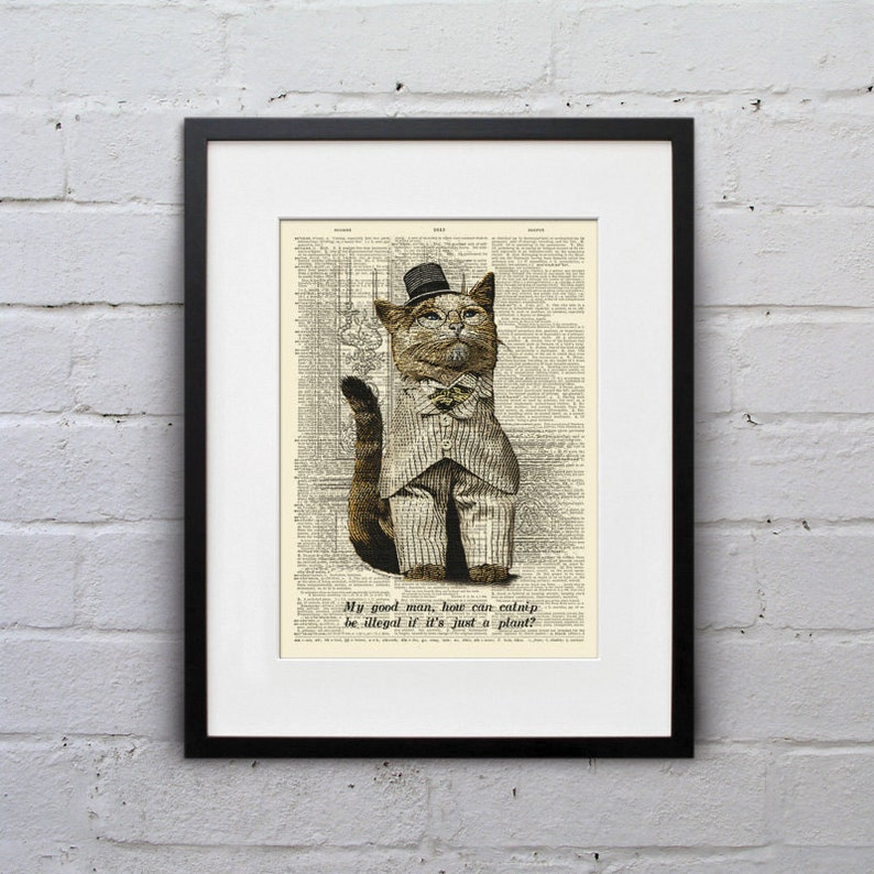 It's Just A Plant  Victorian Cat Dictionary Page Book Art image 0