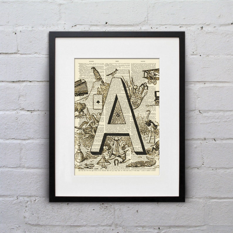 The Letter A Vintage French Alphabet  Shabby Chic Dictionary image 0