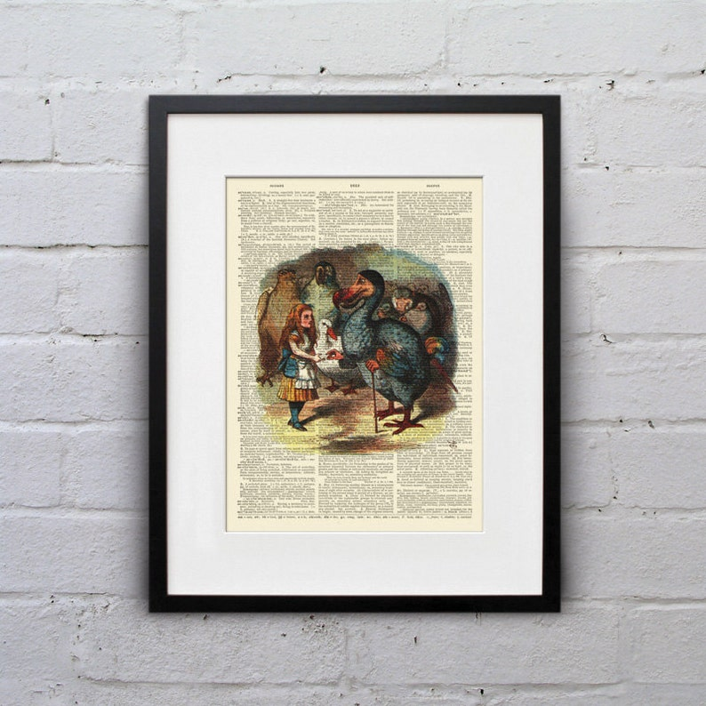 Dodo Bird Alice in Wonderland  Shabby Chic Vintage Dictionary image 0