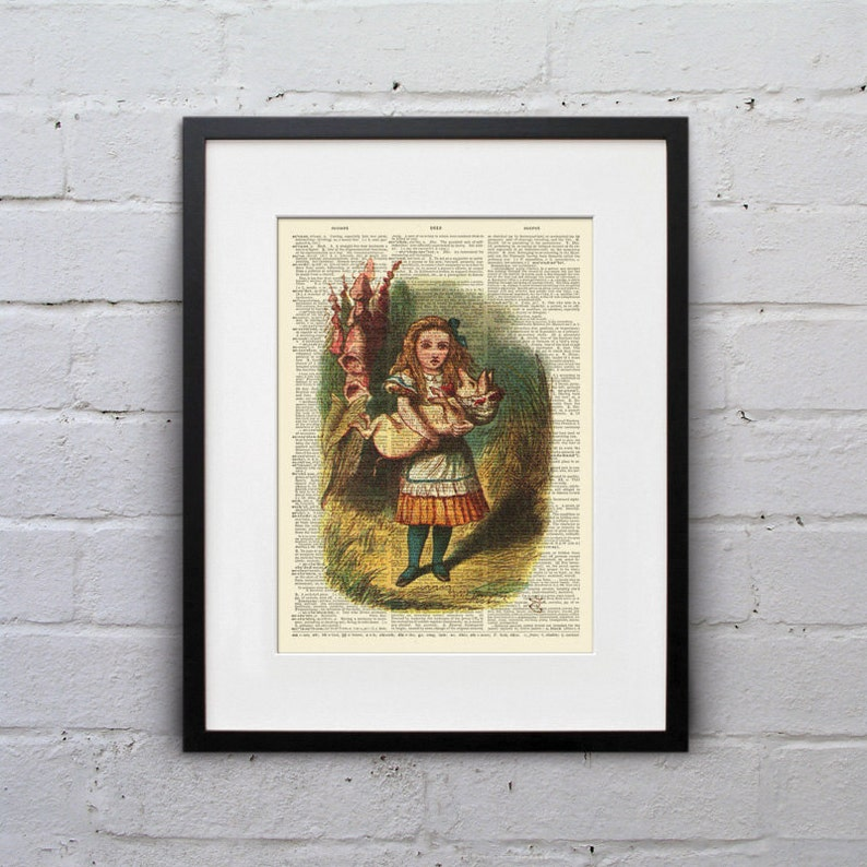 Baby Pig Alice in Wonderland  Shabby Chic Vintage Dictionary image 0