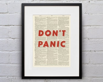 Don't Panic / Douglas Adams - Quote Dictionary Page Book Art Print - DPQU204