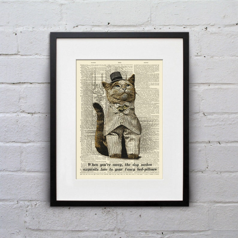The Dog Has A Secret  Victorian Cat Dictionary Page Book Art image 0