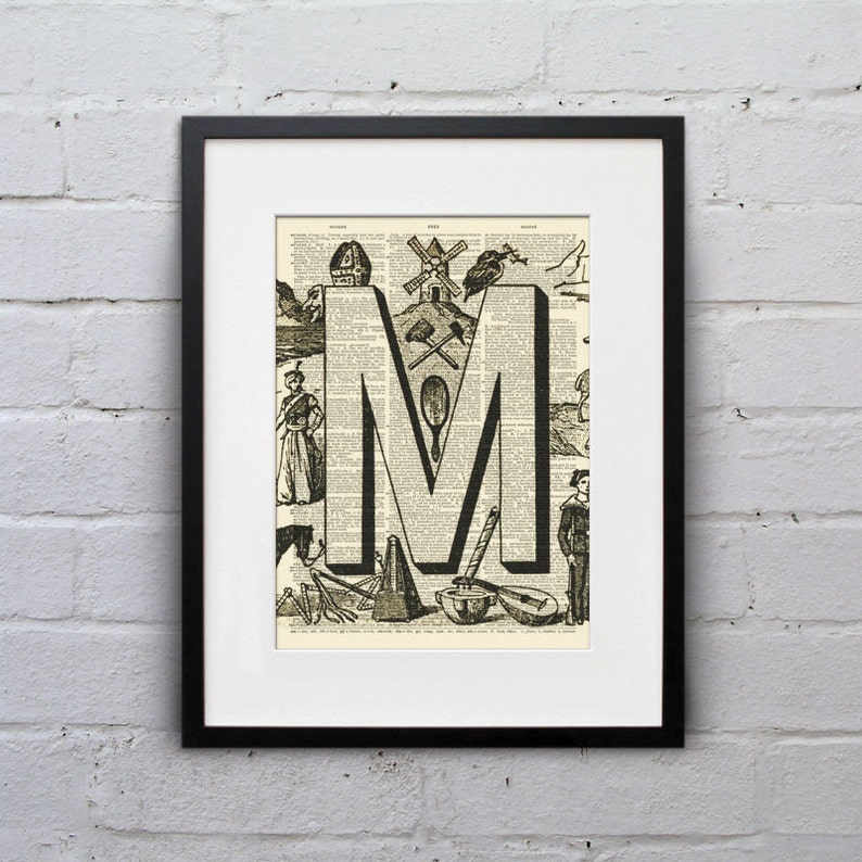 The Letter M Vintage French Alphabet  Shabby Chic Dictionary image 0
