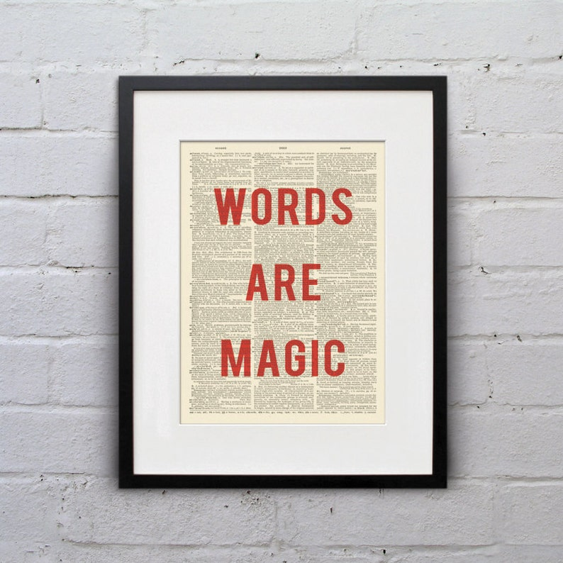 Words Are Magic  Inspirational Quote Dictionary Page Book Art image 0