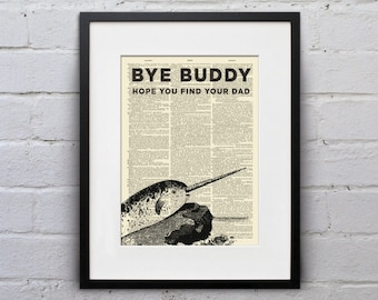Bye Buddy Narwhal - Dictionary Page Book Art Print - DPUN001
