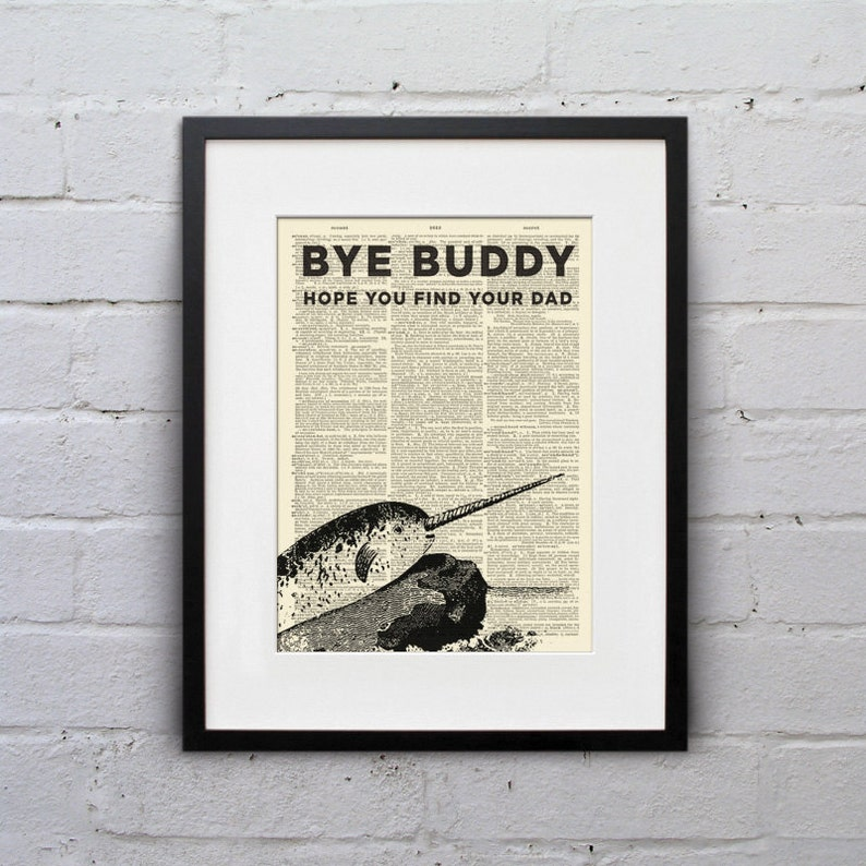 Bye Buddy Narwhal  Dictionary Page Book Art Print  DPUN001 image 0