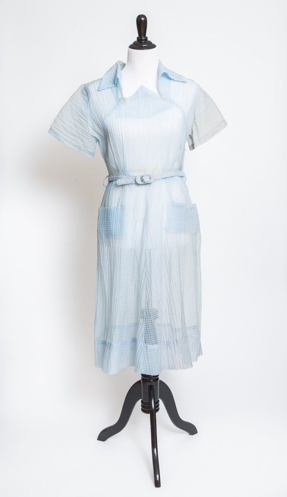 Sheer baby blue vintage dress