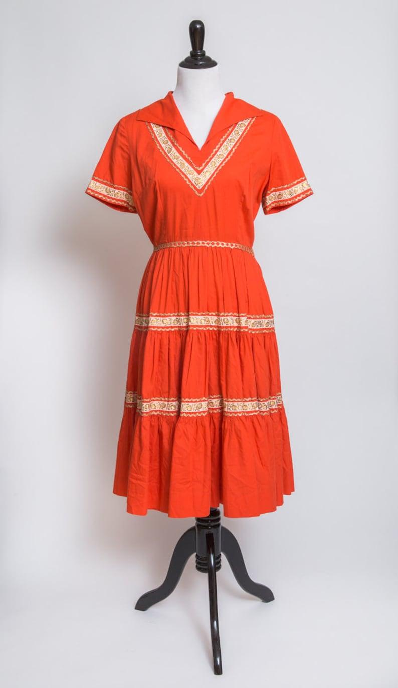 21ddff921b Fun orange vintage western dress