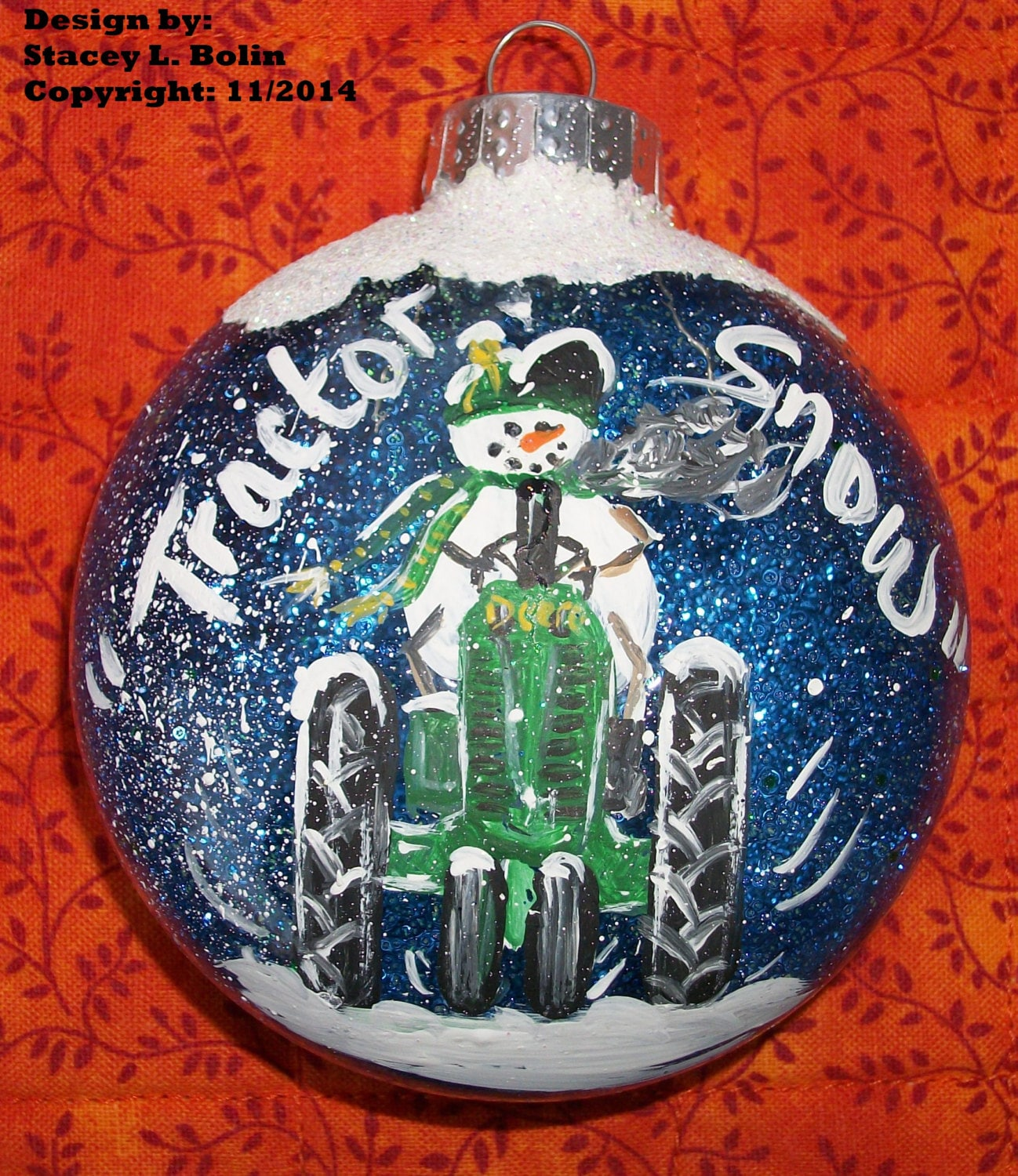 TRACTOR SNOW John Deere - Hand Painted Bubble Glass Ornament - It\'s ...