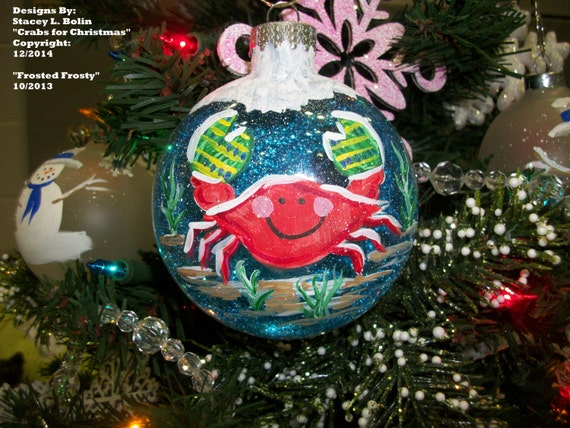 items similar to crabs for christmas round glass ornament on etsy