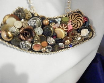 Vintage Button and Jewelry Necklace