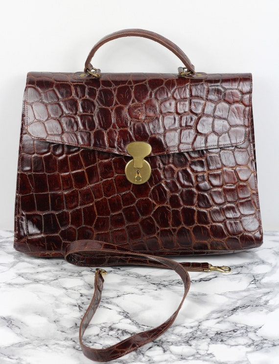 1990s Mulberry Company Vintage Brown Patent Leathe