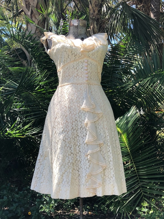 Vintage dress, 1950s dress, country wedding dress,