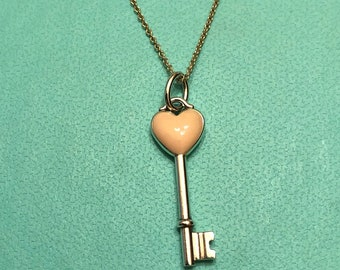 409a789913e4 AUTHENTIC Tiffany   Co Sterling Silver and Pink Enamel Heart Key Charm or Pendant  Necklace Layaway Available Perfect Gift 16