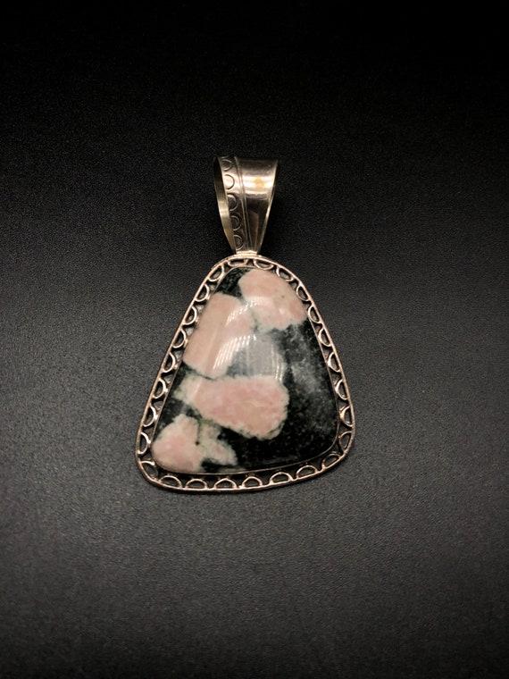 Rhodochrosite and Smoky Topaz Sterling Silver Necklace