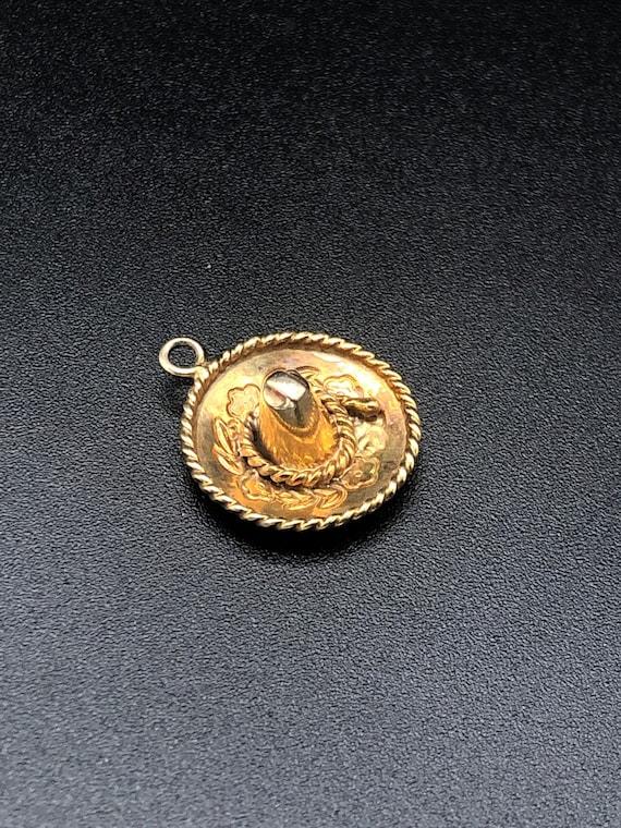 14k Yellow Gold Sombrero Charm for Charm Bracelet