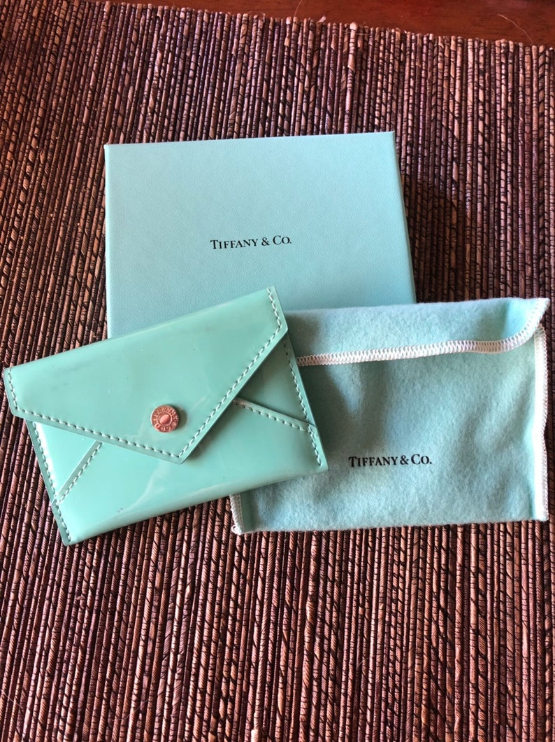 info for 71efb 73ad3 AUTHENTIC Tiffany & Co Blue Patent Leather Envelope Business Card Credit  Card Holder With Box and Pouch Layaway Available Perfect Gift