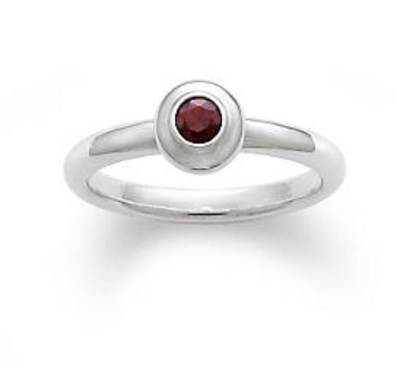 55593a6e4ac21 James Avery Sterling Silver and Garnet Remembrance Ring Size 6 January  Birthstone