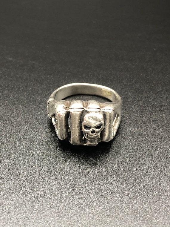 Sterling Silver Skull Biker Ring