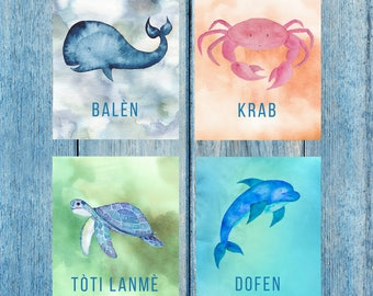 Art Prints Set: sea creatures Haitian Creole