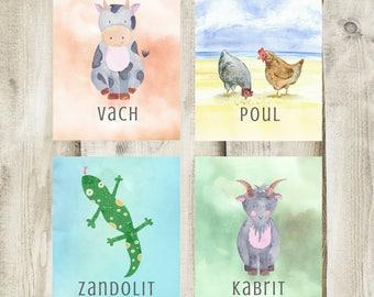 Art Prints Set: animals Haitian Creole