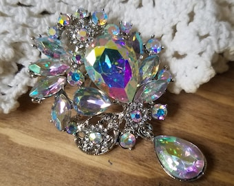 Small AB Rhinestone Flatback Embellishment or Pin Aurora Borealis Rhinestone Broach Dangle Brooch Drop Brooch DIY Glass Headband  SAB1