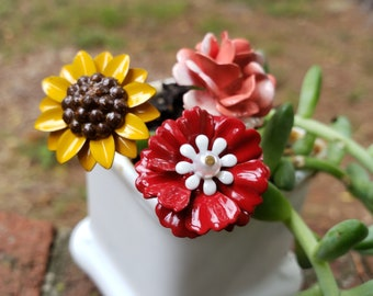 Buy 3 Save $5 Miniature Fairy Garden Red Tote w// Flowers