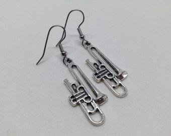 Silver Trombone earrings