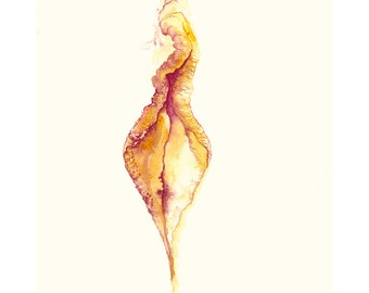 She Dances Yoni Art Print. Spiritual LGBTQ vulva feminist watercolour reproduction
