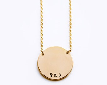 Round pendant etsy round pendant necklace initial pendant necklace personalized round necklace name necklace handstamped disc necklace luca jewelry aloadofball Gallery