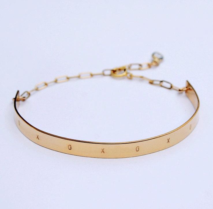 Xoxo Gold Bracelet: XOXO Bar Bracelet Personalized Nameplate Bracelet Gold