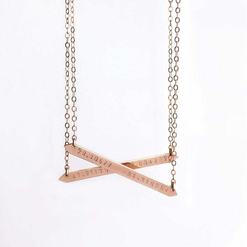 Rose gold coordinates necklace  Latitude longitude necklace  Bar necklace with coordinates  Gold name bar  shopluca