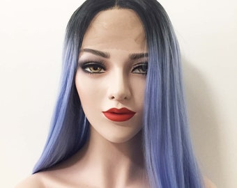 Women Lace Front Ombre Light Blue Dark Root Black Middle Part Smooth Long  Hair Wig 24inches a859d3659c
