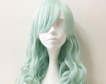 Women Pastel Green Long Loose Curls Curly Wavy Side Swept Bangs Cosplay Lolita Costume Wig Free Cap