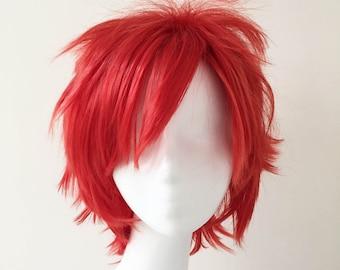 Unisex Red Punk Layered Fringe Short Hair Cosplay Anime Wig