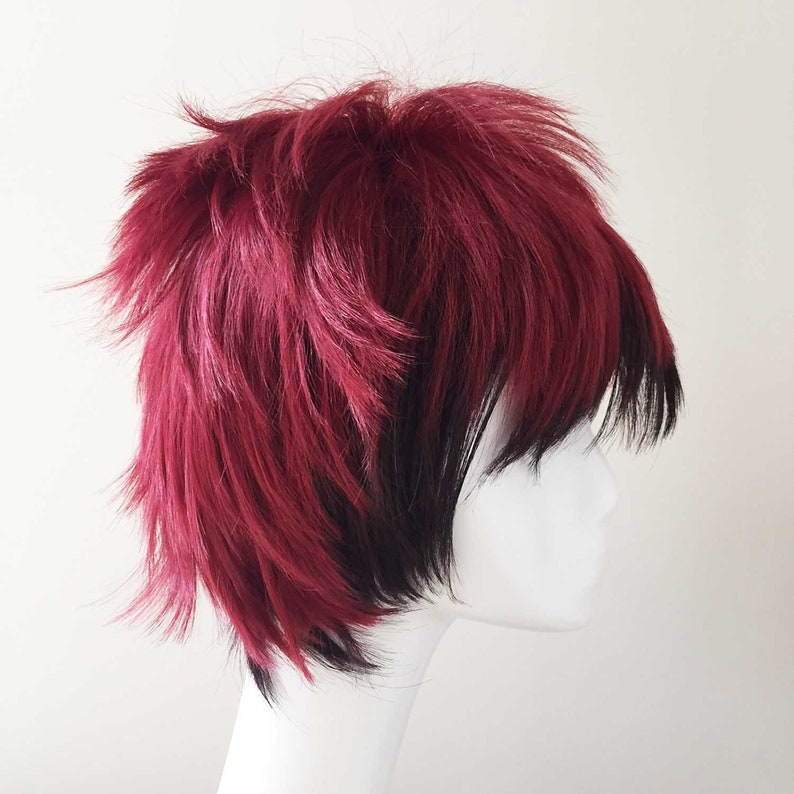 Ombre Red Black Short Layers Hair Fringe Bangs Cosplay Anime Wig Free Cap