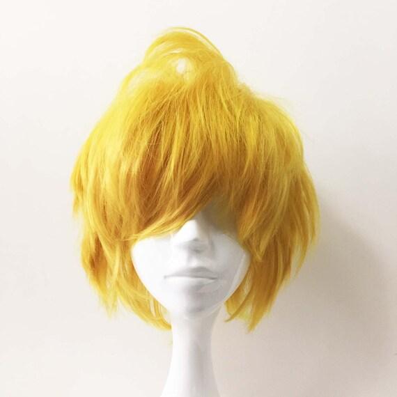 Men Yellow Short Hair Fringe Bangs Cosplay