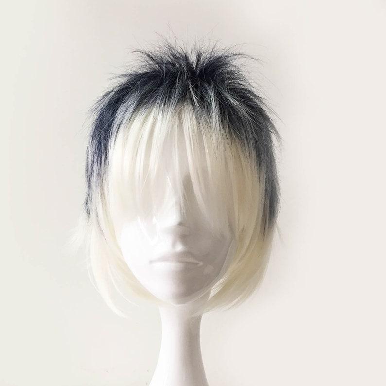 Boy Dark Gray White Short Layers Long Bangs Cosplay Anime Wig