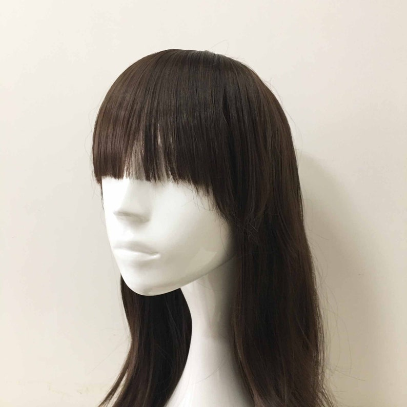 Women Girl Dark Brown Very Long Hair Bob Bangs Short Layers Cosplay Wig 80cm