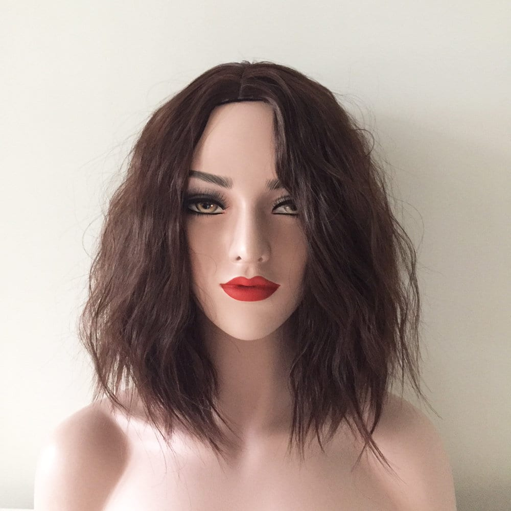 Women Brown Black Kinky Crimpy Fluffy Middle Part Hair Cosplay Etsy