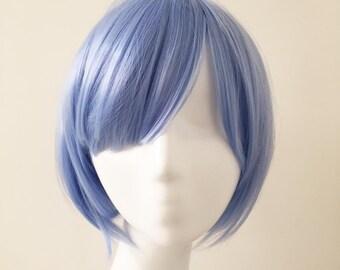 Unisex Light Blue Short Hair Fringe Long Bangs Boyish Cosplay Anime Wig Free Cap