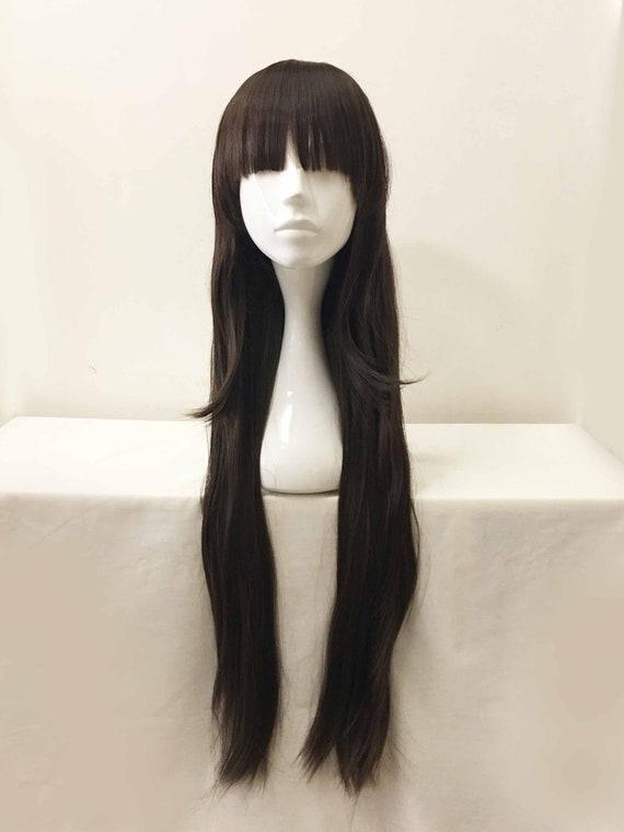 Frauen Mädchen Dunkelbraun Sehr Lange Haare Bob Bangs Kurze Schichten Cosplay Perücke 80cm