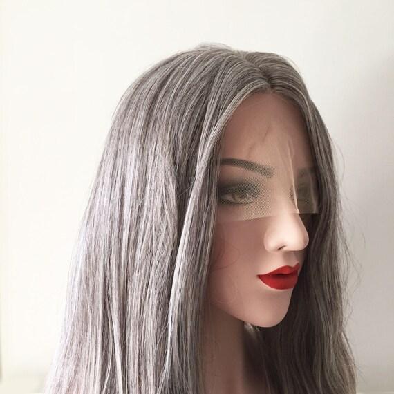 Ombre Verblassen Farbe Grau Braun Weiß Lange Gerade Mitte Geteilt Front Spitze Partei Haar Perücke Frei Cap 70cm