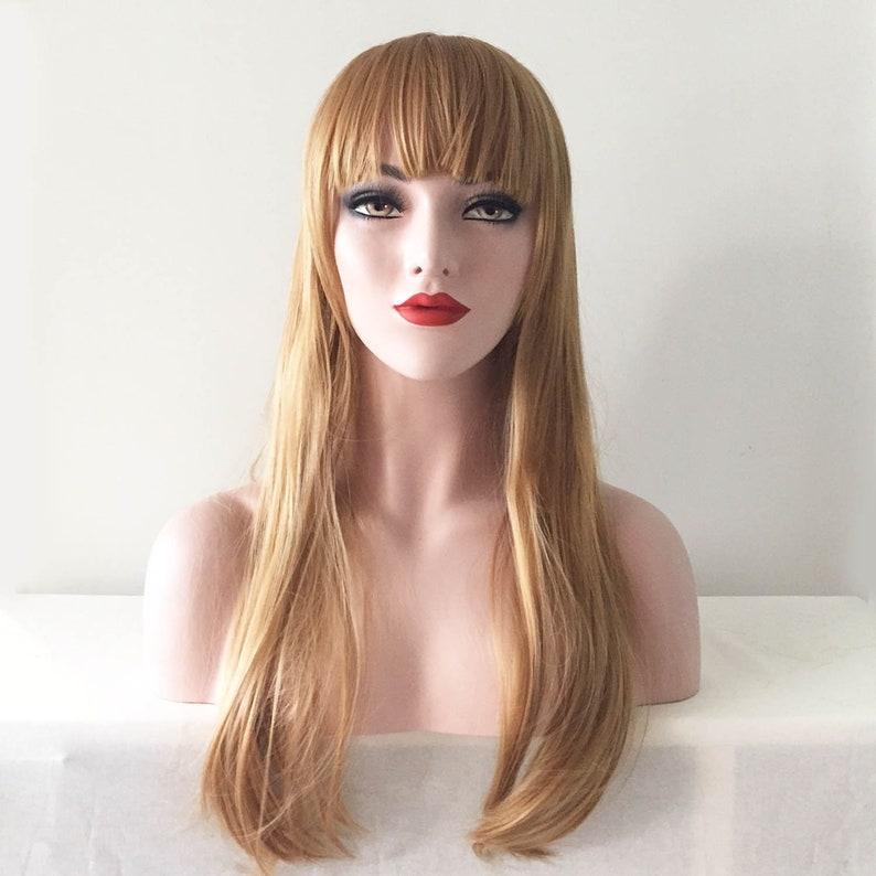 7b3e60fb327 Women Gold blonde Bob Bangs Soft Long Straight Hair Party