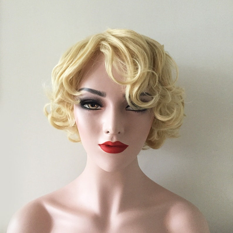 Women Gold Blonde Wavy Whirly Messy Curly Classic Marilyn  c396a5dfb4