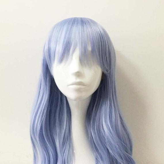 Womeb Pastel Light Blue Long Bob Bangs Straight Wavy Hair Cosplay Anime Wig Free Cap