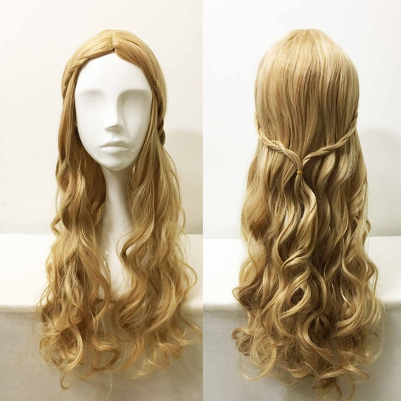 Women Princess Style Braided Blonde Long Curly Wavy Hair Middle Part Cosplay Halloween Party Wig