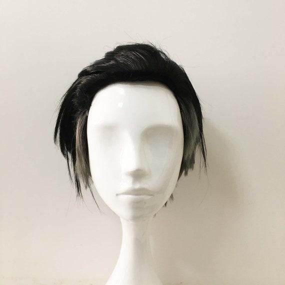 Men Black Gray Two Tone Undercut Slicked Back Layer Short Hair Cosplay Anime Wig