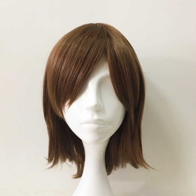 UK seller Prince style Short layered cosplay wig with fringe in gold brown