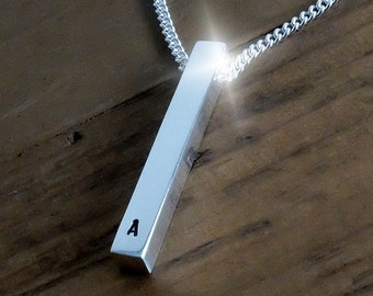 Personalised Silver Bar Necklace, Silver Rectangular Bar Necklace, Monogram Necklace, Personalised Bar Necklace, Silver Stick Necklace
